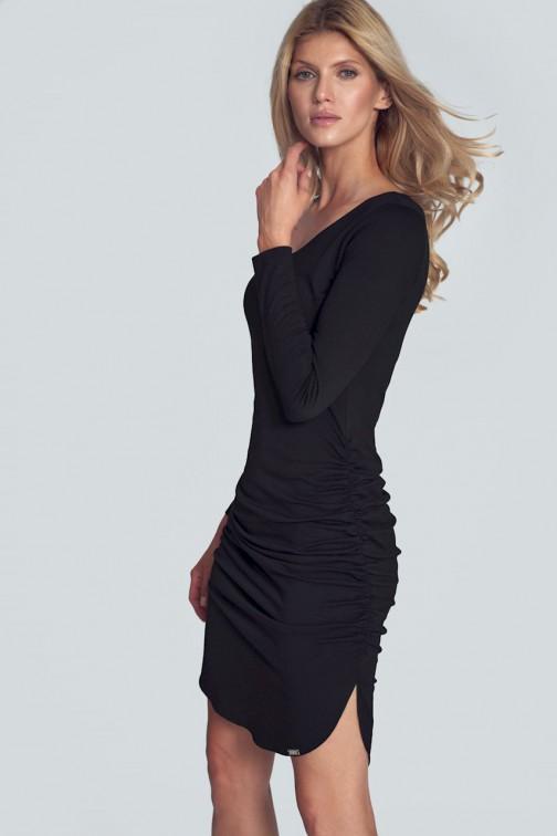 CM5505 Dopasowana sukienka mini z półokrągłym dekoltem - czarna