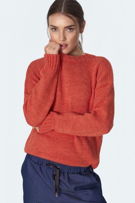 Klasyczny ciepły sweter - pomarańczowy