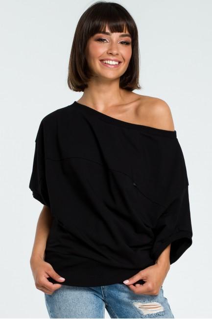 Bluza oversize z rękawem kimono - czarna