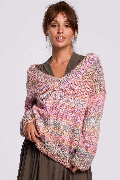 CM5525 Wielokolorowy sweter z dekoltem V - różowy