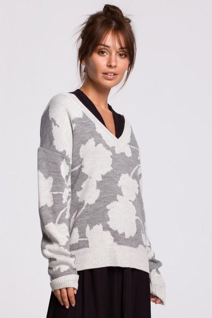 CM5534 Sweter w kwiaty -...