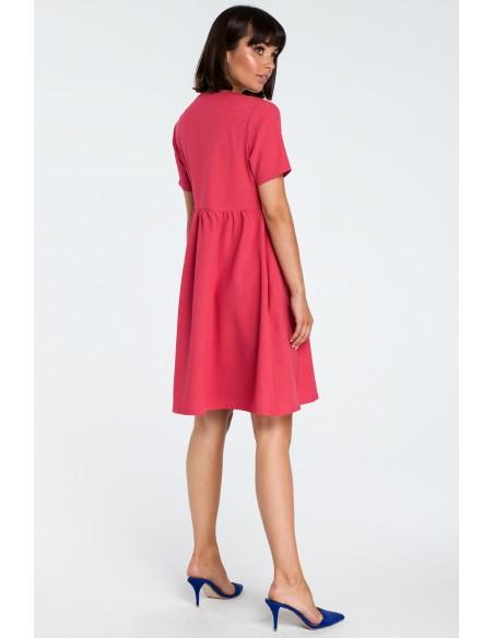 Sukienka mini odcinana pod biustem - różowa