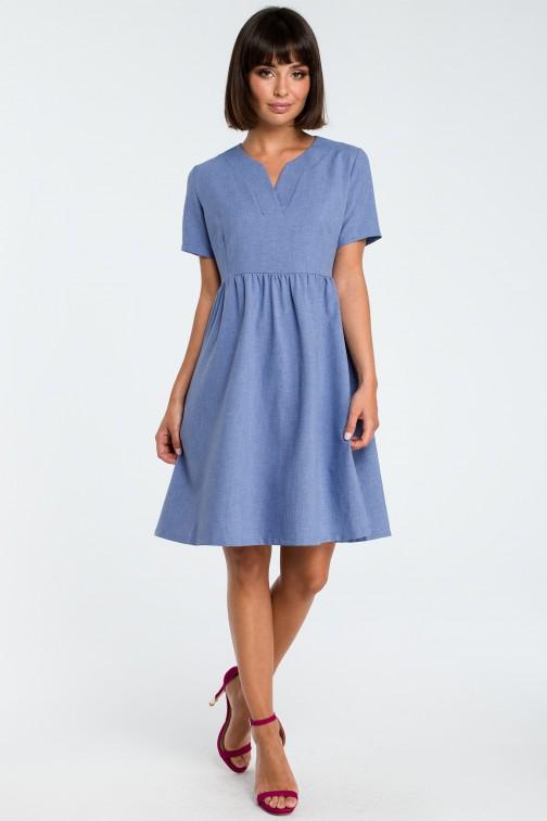 CM3757 Sukienka mini odcinana pod biustem - niebieska