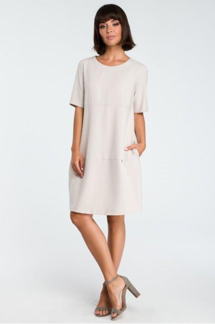 Zwiewna sukienka bombka - beżowa