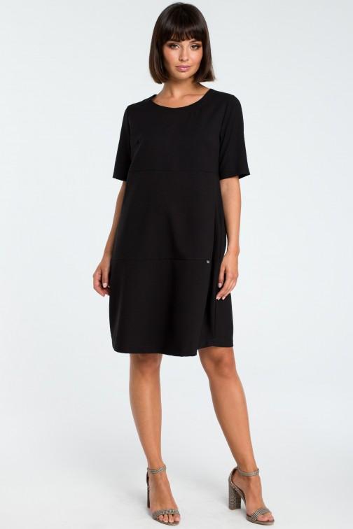 CM3758 Zwiewna sukienka bombka - czarna