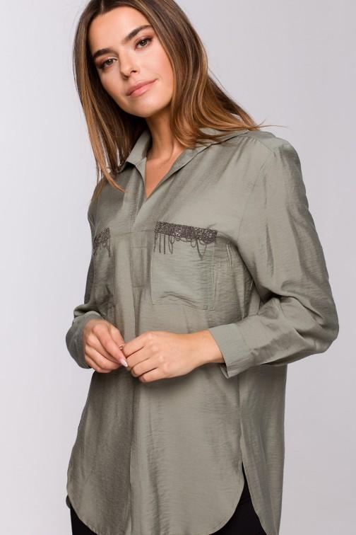 CM5537 Bluzka koszulowa z ozdobami - khaki