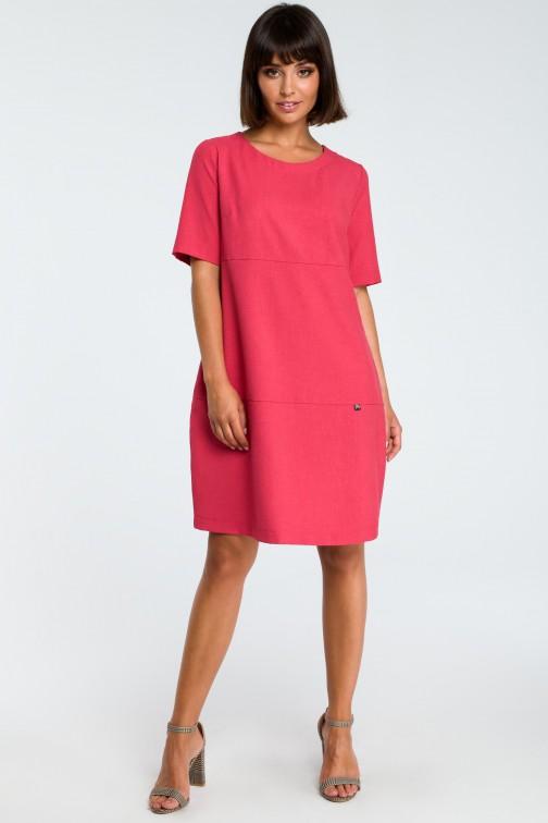 CM3758 Zwiewna sukienka bombka - różowa