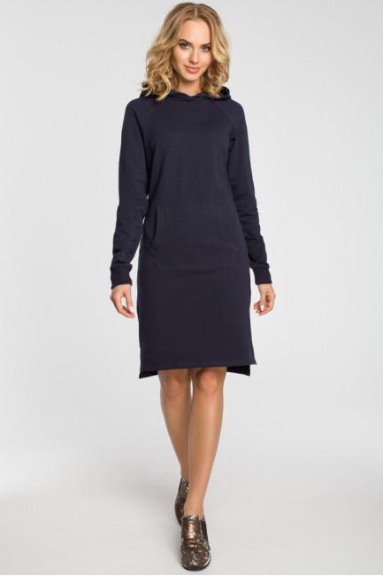 Dresowa sukienka kangurka - granatowa