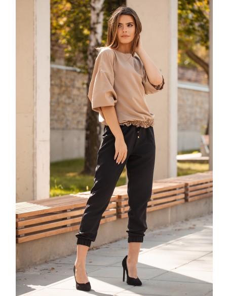 Spodnie joggery na gumie - czarne