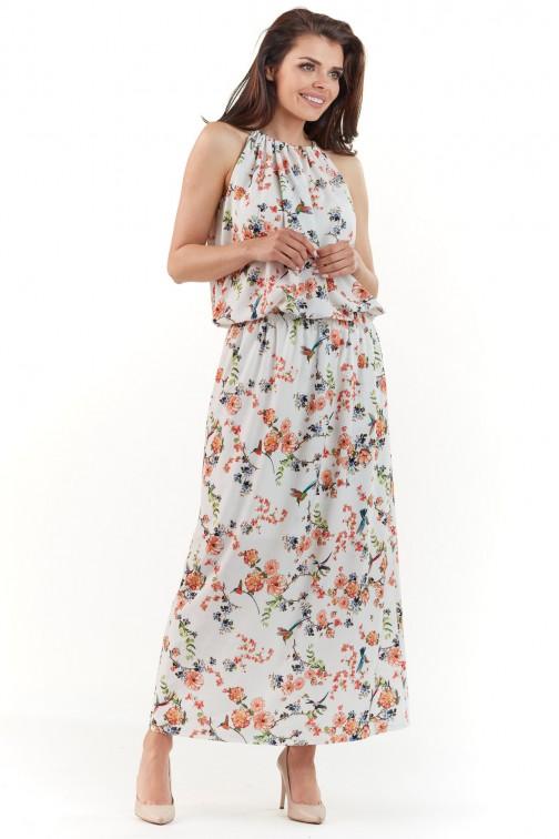 CM3761 Sukienka maxi w kwiaty - ecru