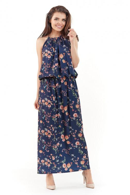 Sukienka maxi w kwiaty - granatowa