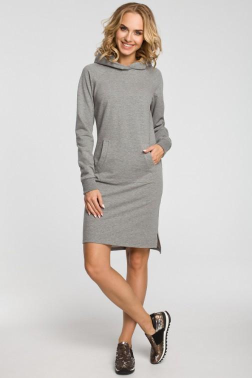 CM3108 Dresowa sukienka kangurka - szara