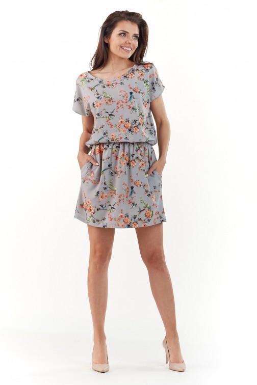 Sukienka mini z krótkim rękawem - szara