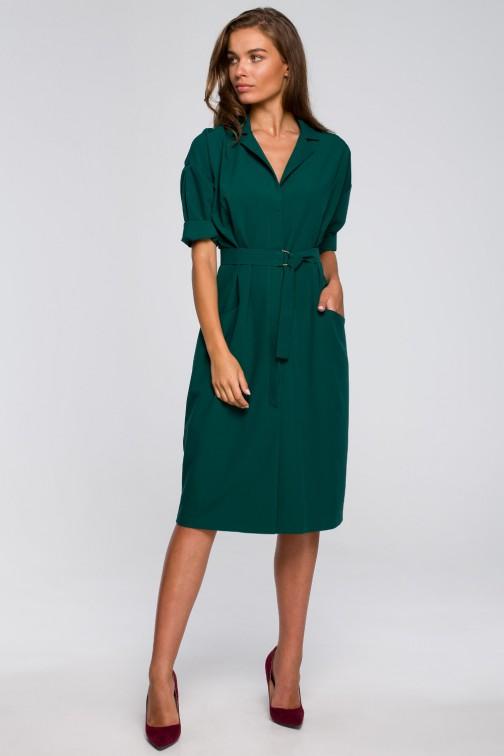 CM5574 Sukienka z dużymi kieszeniami i kołnierzem żakietowym - zielona