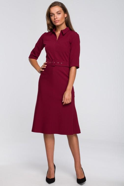 CM5575 Sukienka z paskiem i klamrą - bordowa