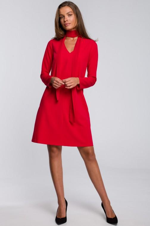 CM5577 Sukienka z szyfonowym szalem - czerwona