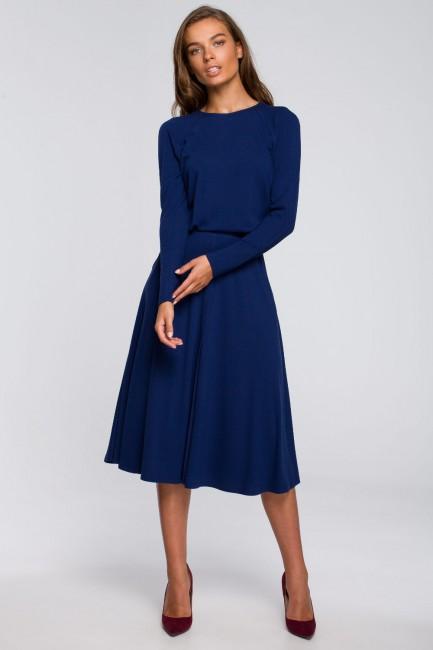 Sukienka z rozkloszowanym dołem - atramentowa