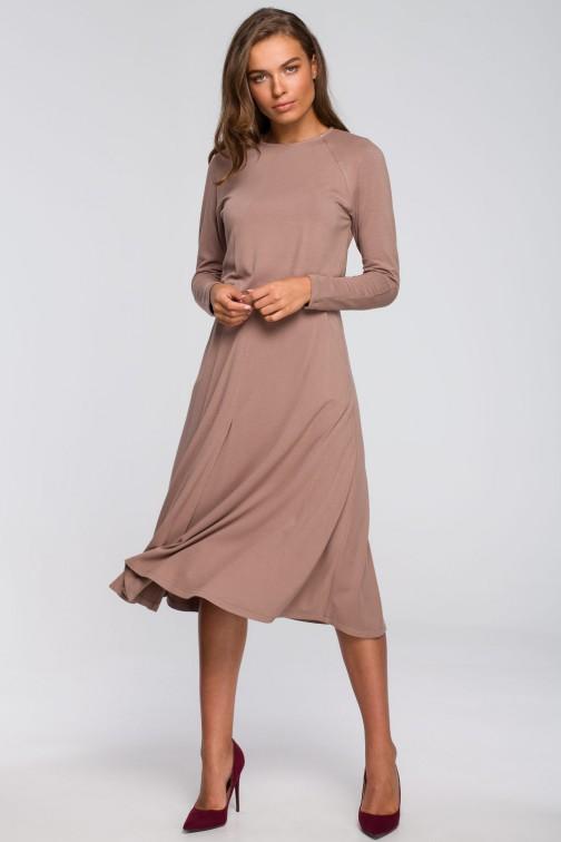 CM5578 Sukienka z rozkloszowanym dołem - cappuccino