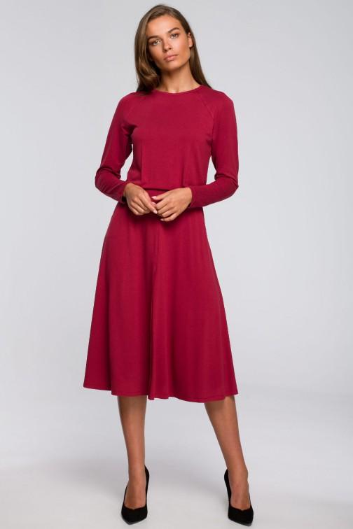 CM5578 Sukienka z rozkloszowanym dołem - wiśniowa