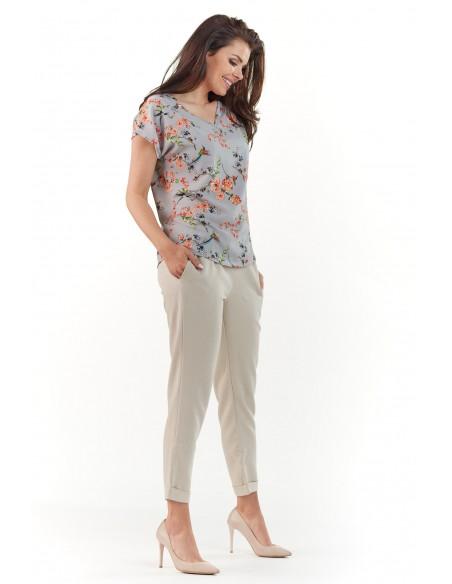Bluzka w kwiaty z krótkim rękawem - szara