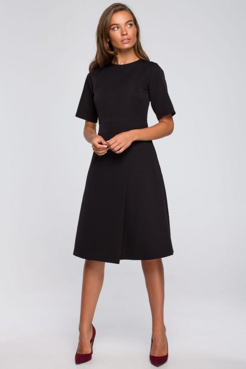 CM5584 Sukienka z kopertowym dołem - czarna