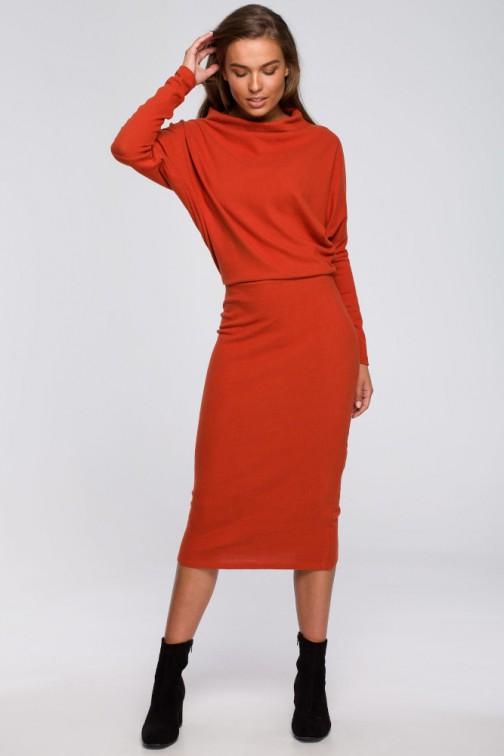 CM5589 Sukienka z drapowanym dekoltem - ruda