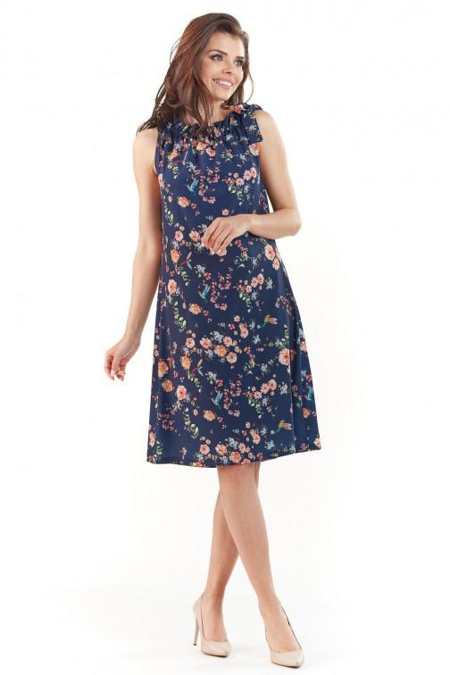 CM3766 Kobieca sukienka bez rękawów - granatowa