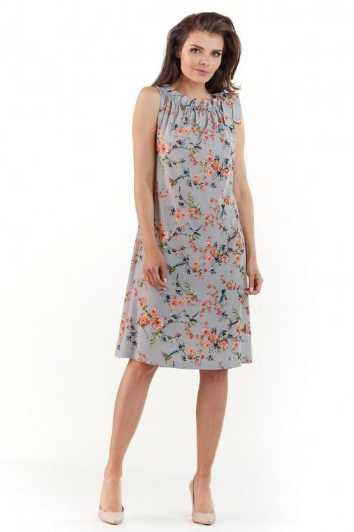 CM3766 Kobieca sukienka bez rękawów - szara