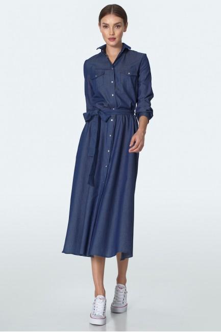 CM5611 Jeansowa sukienka midi