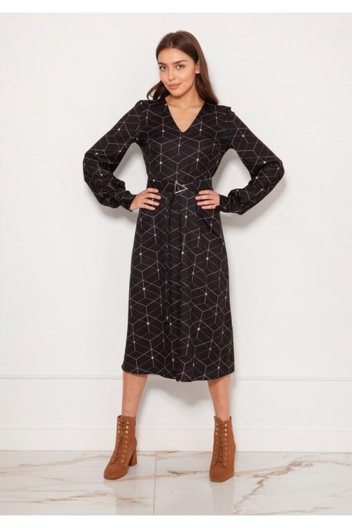 CM5619 Sukienka z dekoltem V i efektownymi rękawami - wzór