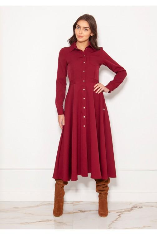 CM5620 Koszulowa sukienka na napy - bordowa