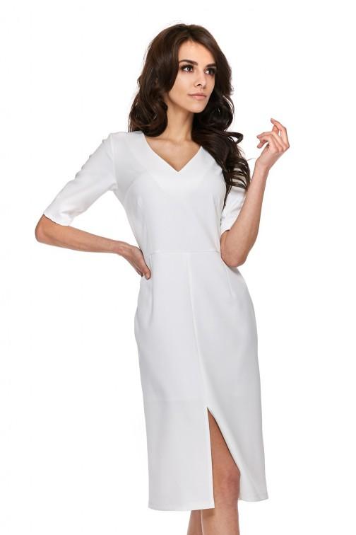 Elegancka sukienka z krótkim rękawem - biała