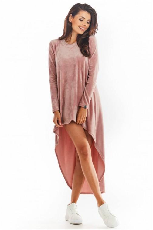 CM5657 Asymetryczna sukienka z długimi rękawami - różowa