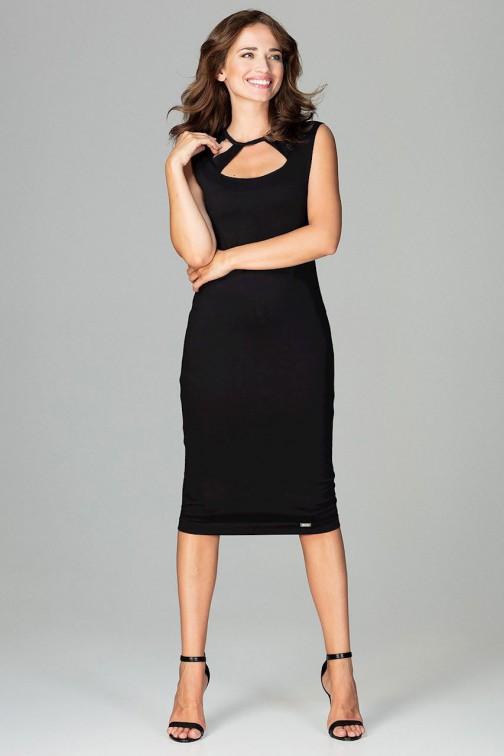 CM3789 Sukienka 7/8 z ozdobnym dekoltem - czarna