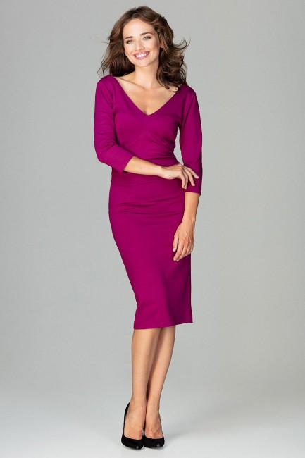 Dopasowana sukienka biurowa - fuksja