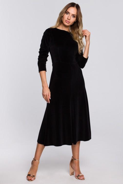 CM5665 Welurowa sukienka midi z rękawami 3/4 - czarna