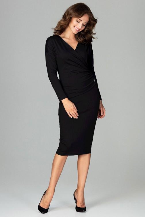 CM3791 Sukienka z dekoltem i marszczeniem - czarna