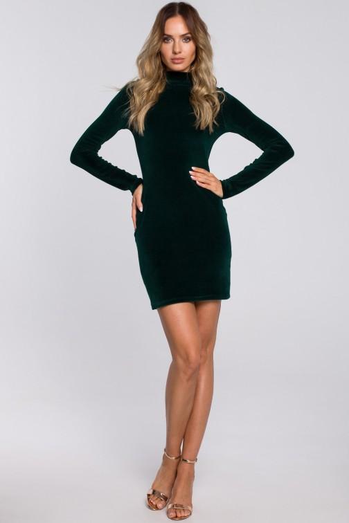 CM5666 Welurowa sukienka mini ze stójką - zielona