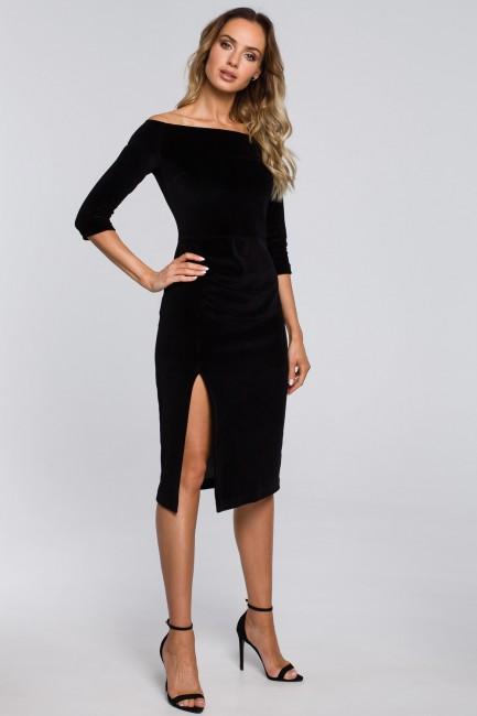 CM5667 Welurowa sukienka z...