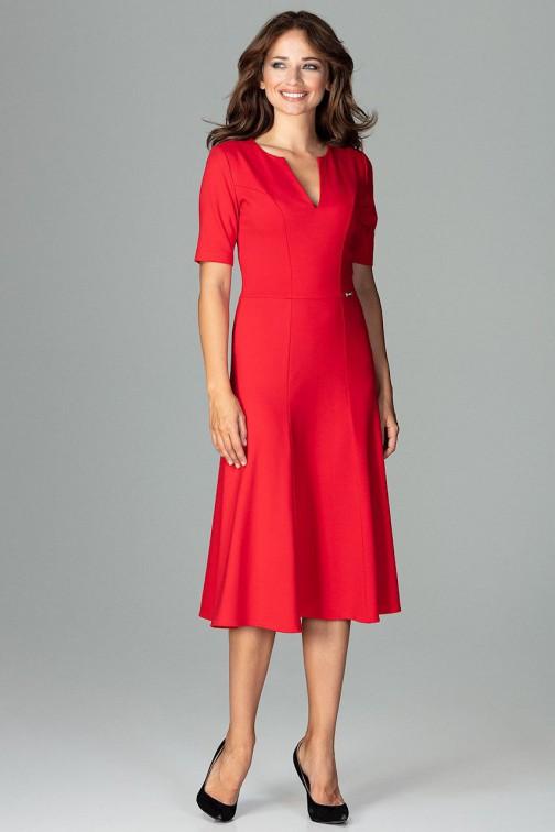 Koktajlowa sukienka w kliny - czerwona