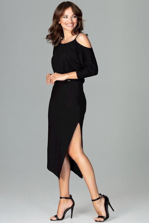 CM3793 Asymetryczna sukienka z rękawem kimono - czarna