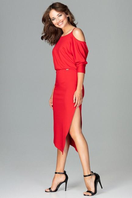 Asymetryczna sukienka z rękawem kimono - czerwona