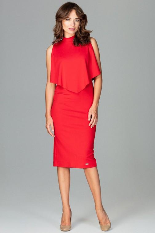CM3794 Dopasowana sukienka z doszytą peleryną - czerwona