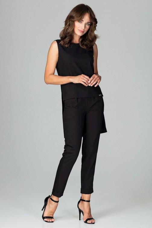 CM3796 Komplet - asymetryczna bluzka i klasyczne spodnie - czarny