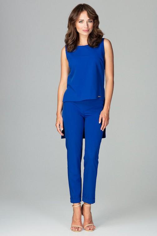 CM3796 Komplet - asymetryczna bluzka i klasyczne spodnie - niebieski