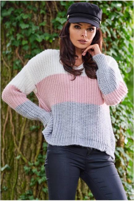 CM5681 Trójkolorowy sweter...