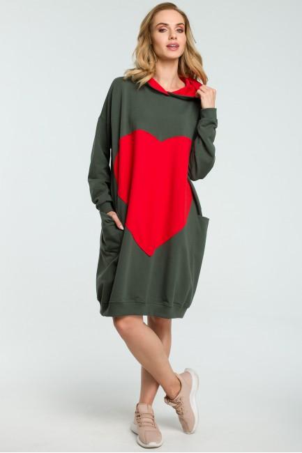 CM3801 Dresowa sukienka z...