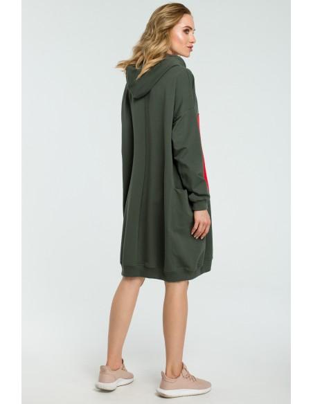 Dresowa sukienka z sercem - militarno-zielona