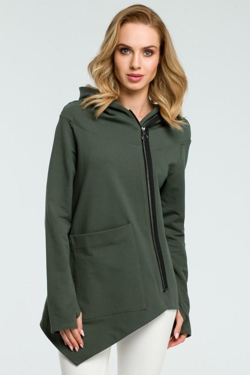 CM3804 Asymetryczna zasuwana bluzka - militarno-zielona