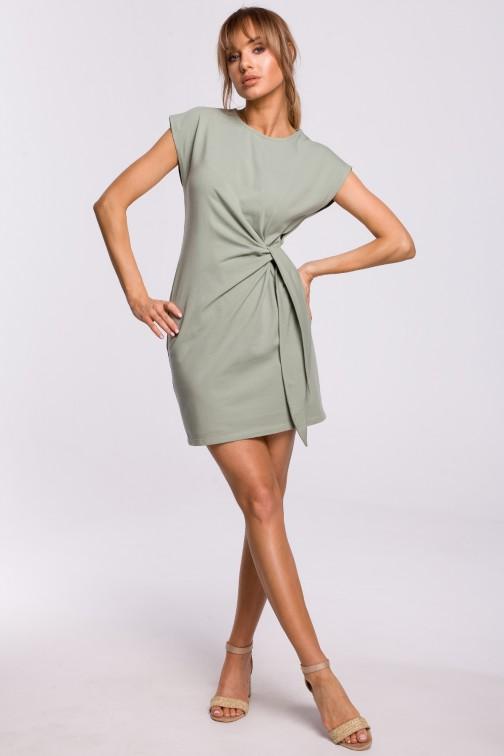 CM5215 Sukienka z supłem na boku - pistacjowa OUTLET